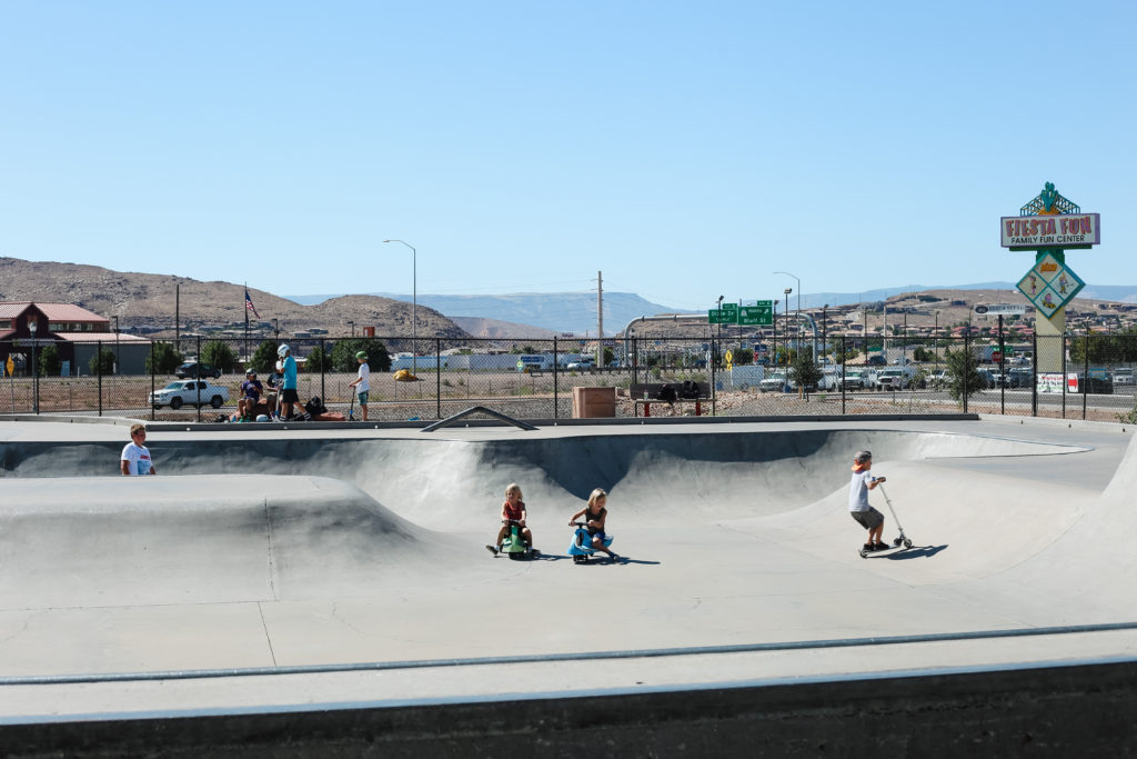 playing at the skate park