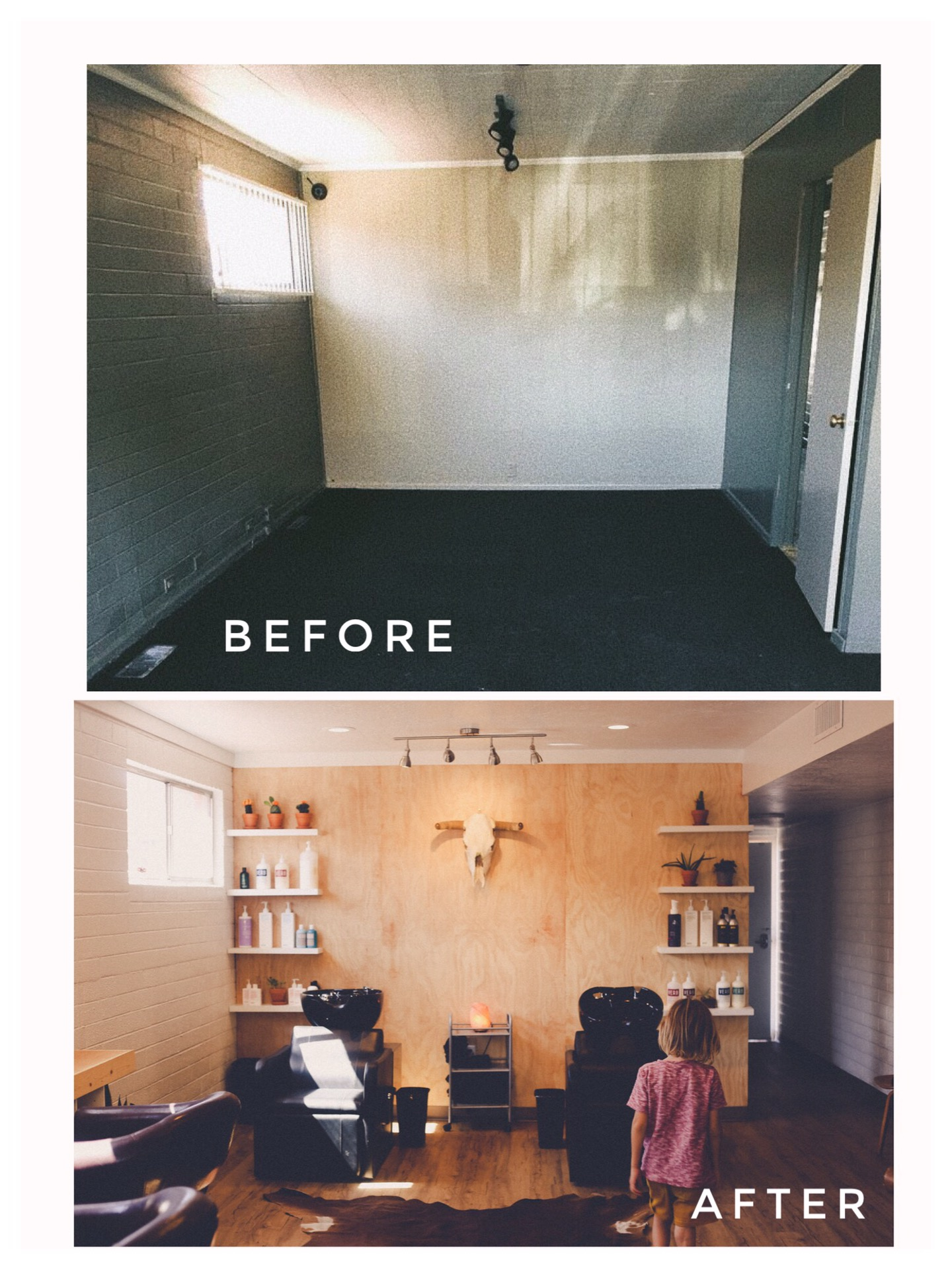 before and after photos of the salon